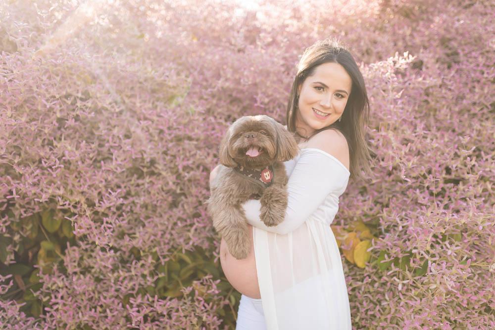 ensaio gestante brasilia com pet cachorro e folhas rosas