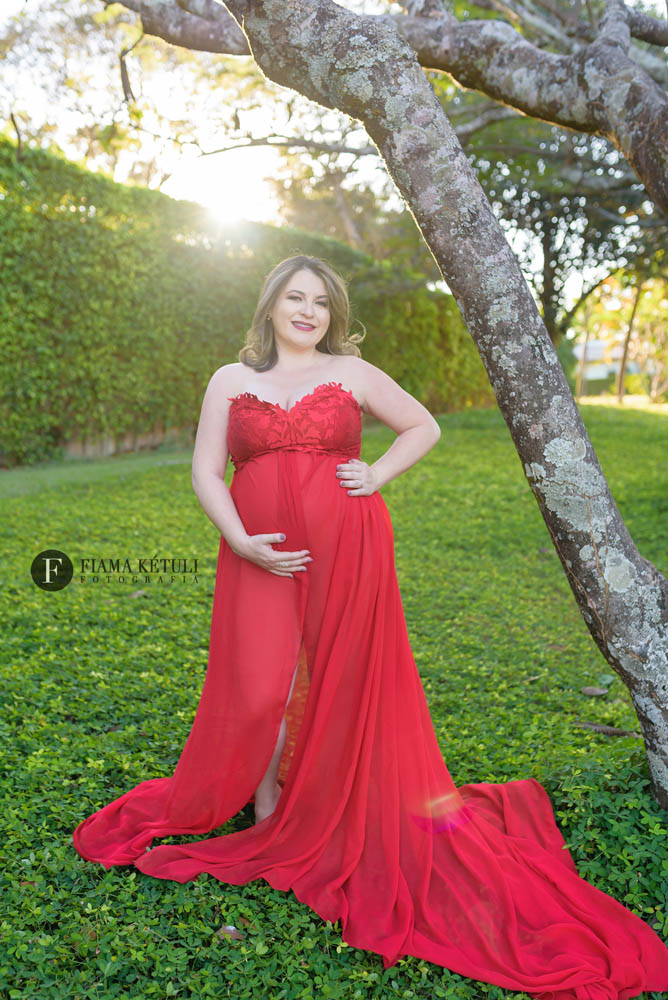 fotografo ensaio de gestante vestido vermelho