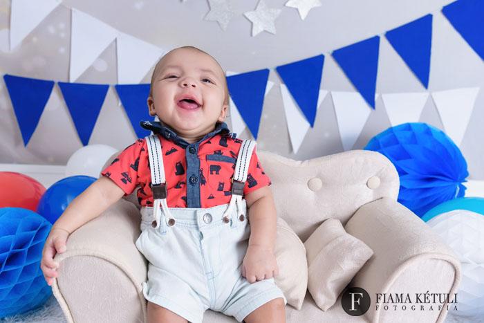 Ensaio de Bebê 4 meses Sorrindo em Estúdio