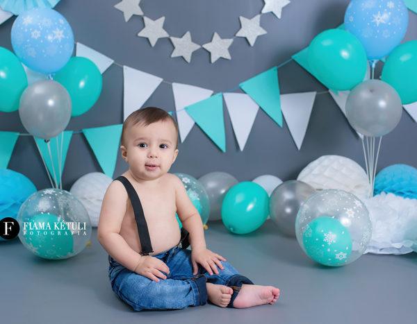 Cenário para bebê em estúdio, aniversário de 1 ano