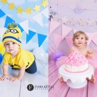 Smash The Cake de menino e menina minios e rosa em estudio fotografo brasilia DF