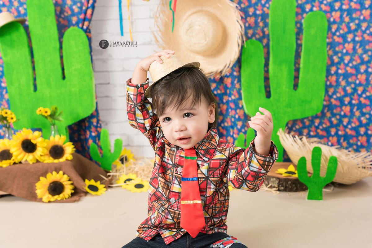 Cenário para ensaio junino - Ensaio de bebê em estúdio com tema cactos e girassóis