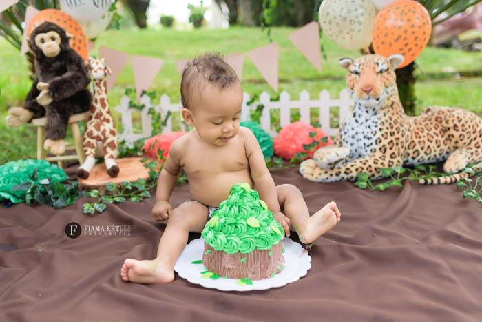 Ensaio de bebê com bolo tema safari em Brasília