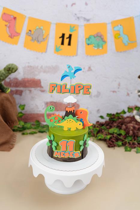 Bolo para smash the cake tema Dinossauros