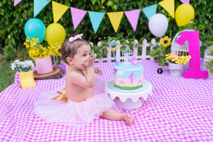 Fotógrafa com cenário completo para smash the cake em Brasília