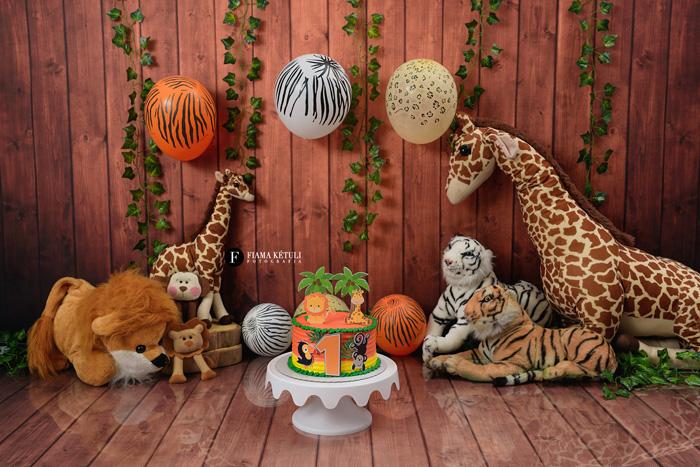 Smash cake tema safari em estúdio para menino em Brasília